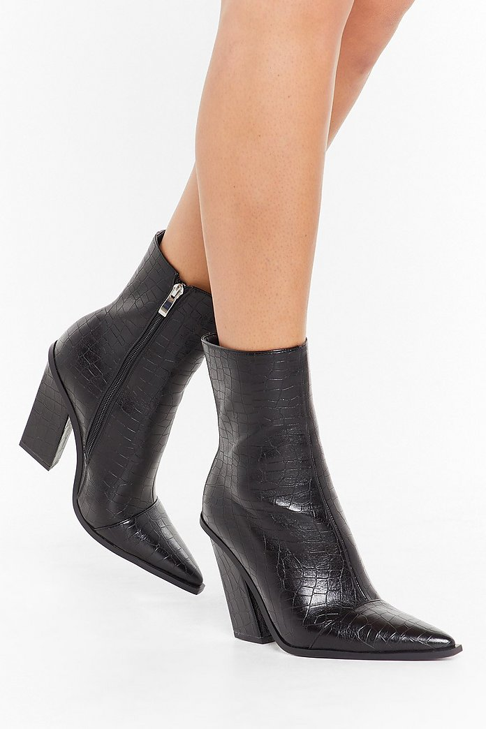 black leather pointed boots