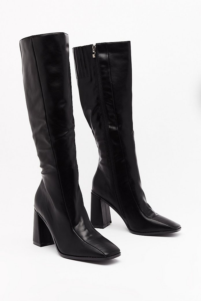 Black Leather Knee Length Boots