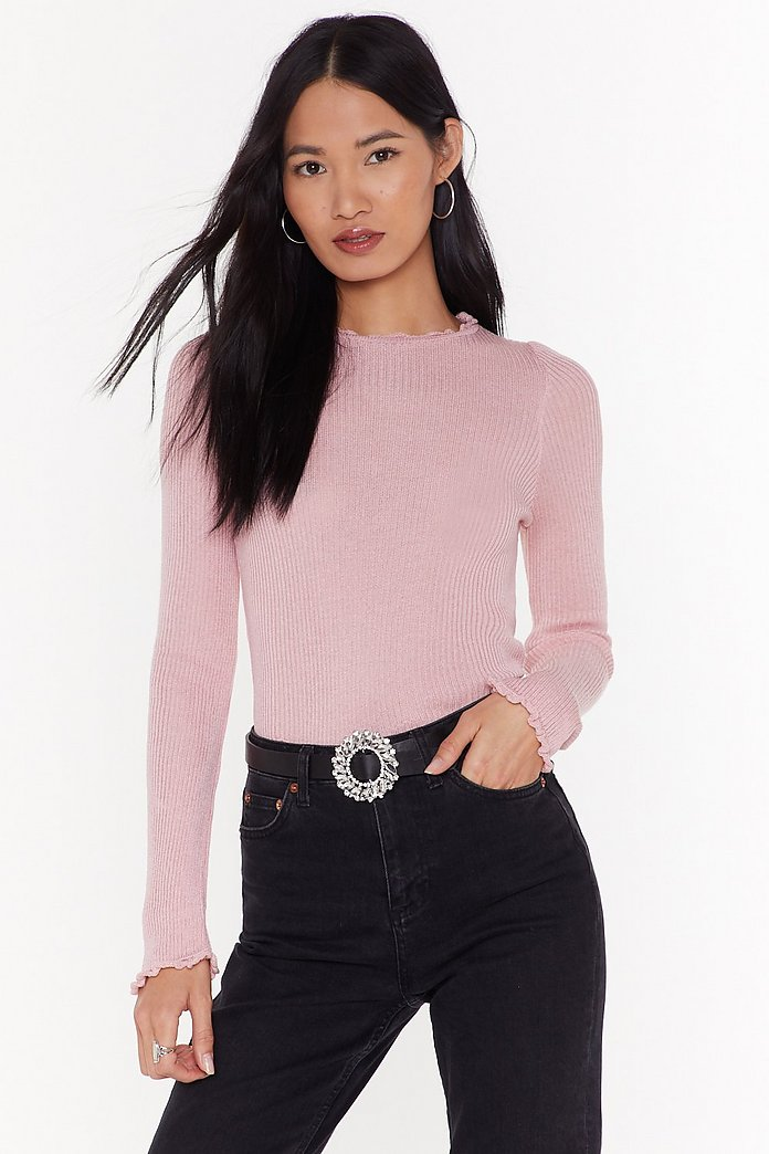 You Know The Frill Ribbed Jumper by Nasty Gal