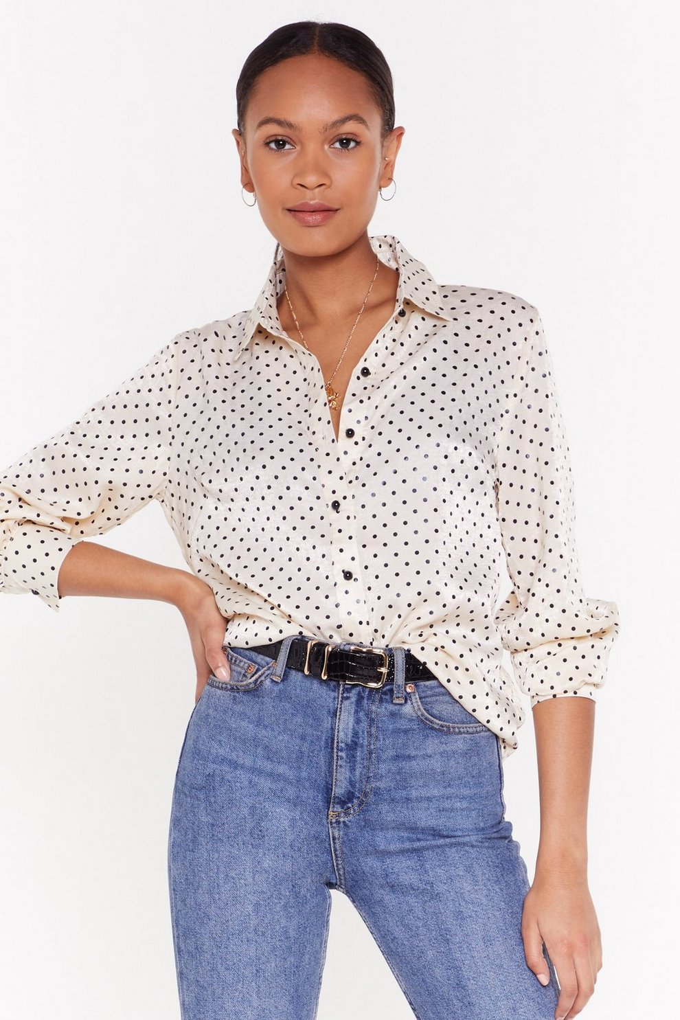 863c78c8c812e Still Dot Time Polka Dot Satin Shirt