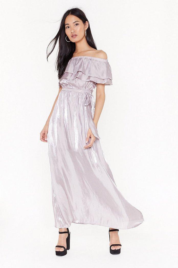 vente à bas prix vaste gamme de meilleure qualité Robe longue à col bardot effet lamé Rdv en amoureux | Shop Clothes at Nasty  Gal!