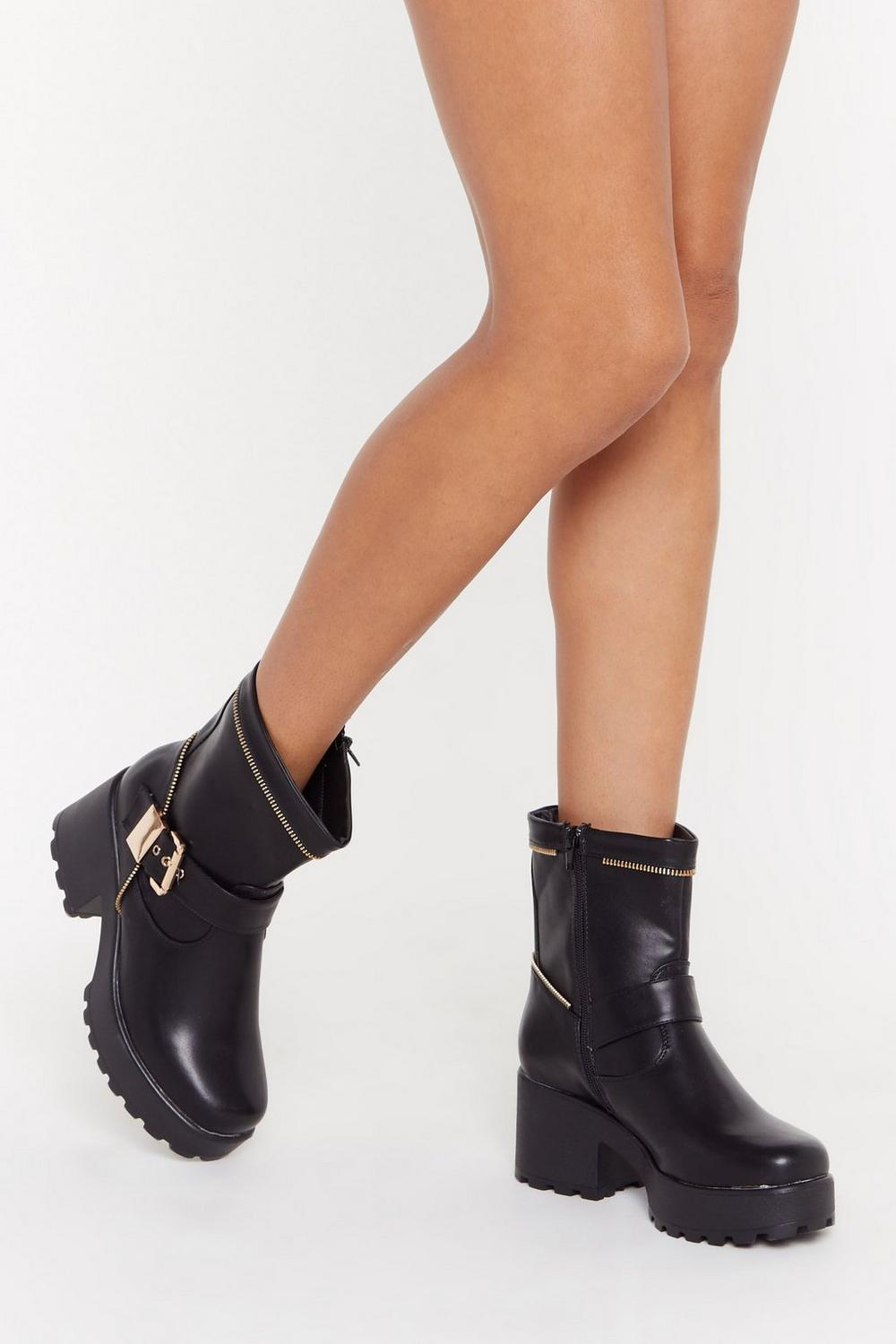 93e5f5bf7b Zip Town Faux Leather Biker Boots | Shop Clothes at Nasty Gal!