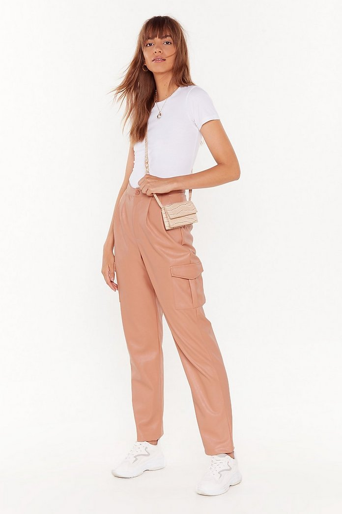 PUT ON YOUR FAUX LEATHER CARGO PANTS