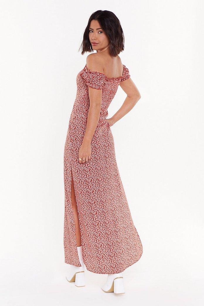 style distinctif 100% de satisfaction variété de dessins et de couleurs Robe longue fendue à col bardot Mon jardin à moi | Shop Clothes at Nasty  Gal!
