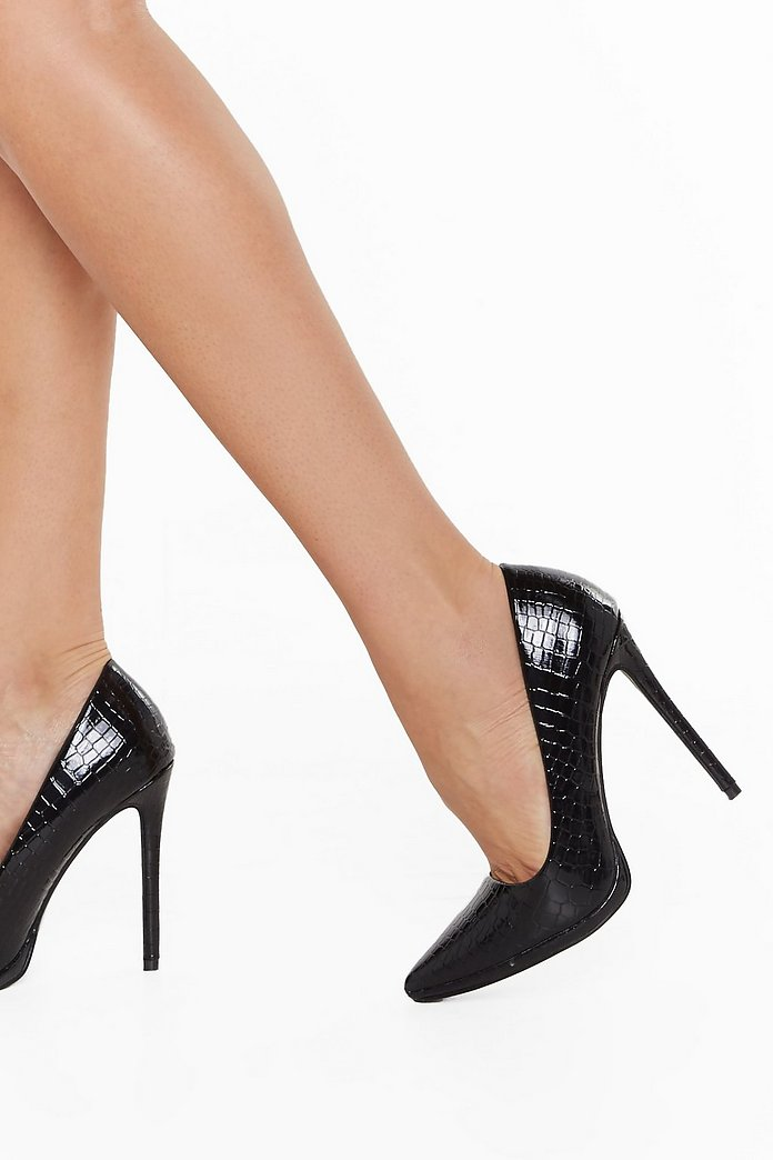 Black Platform Court Heels