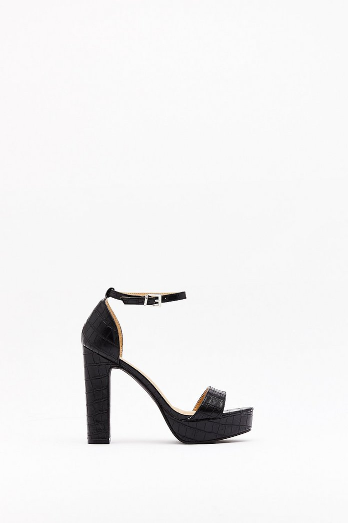 What the Croc Faux Leather Platform Heels | Nasty Gal