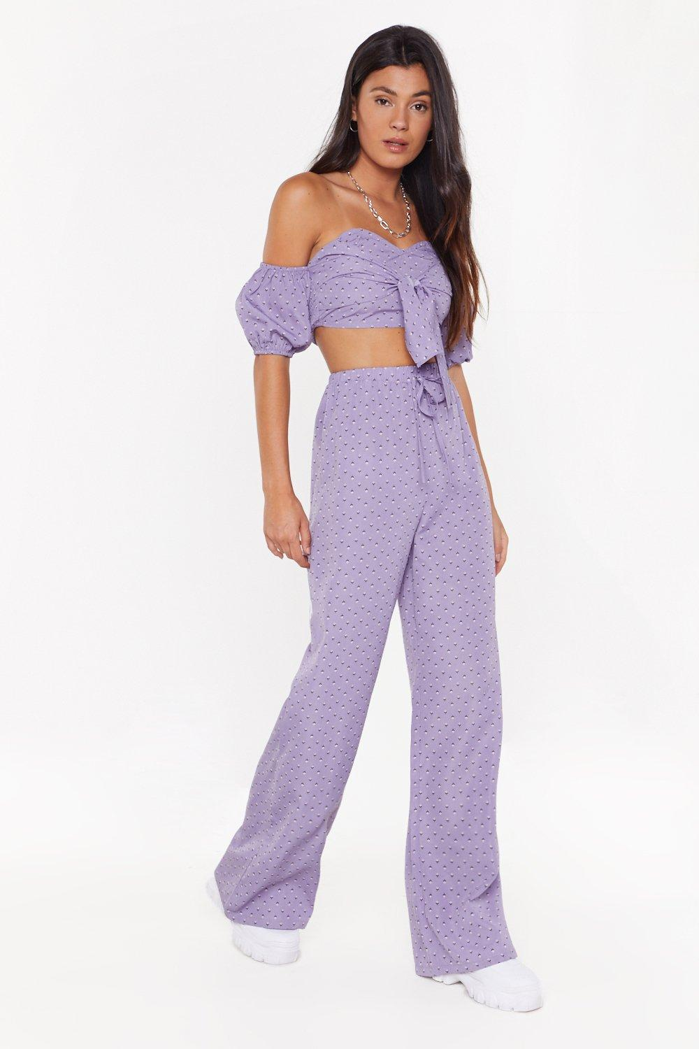 eabf26bc62f657 Floral Wide Leg & Off Shoulder Top Co-ord | Shop Clothes at Nasty Gal!