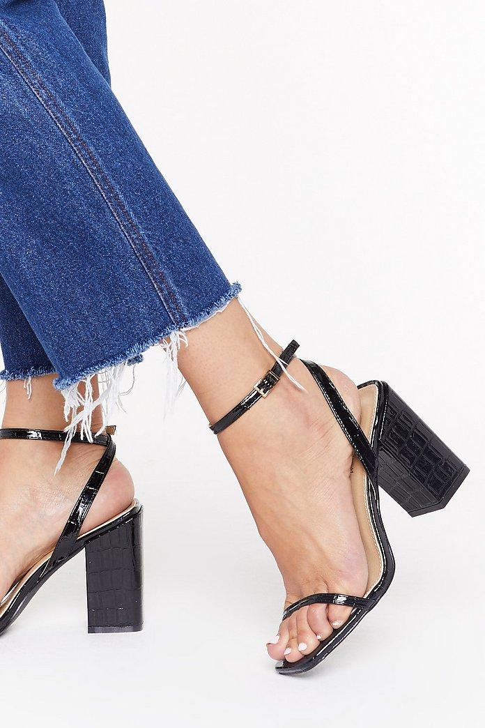 I Won't Square Croc Block Heel Sandals | Nasty Gal