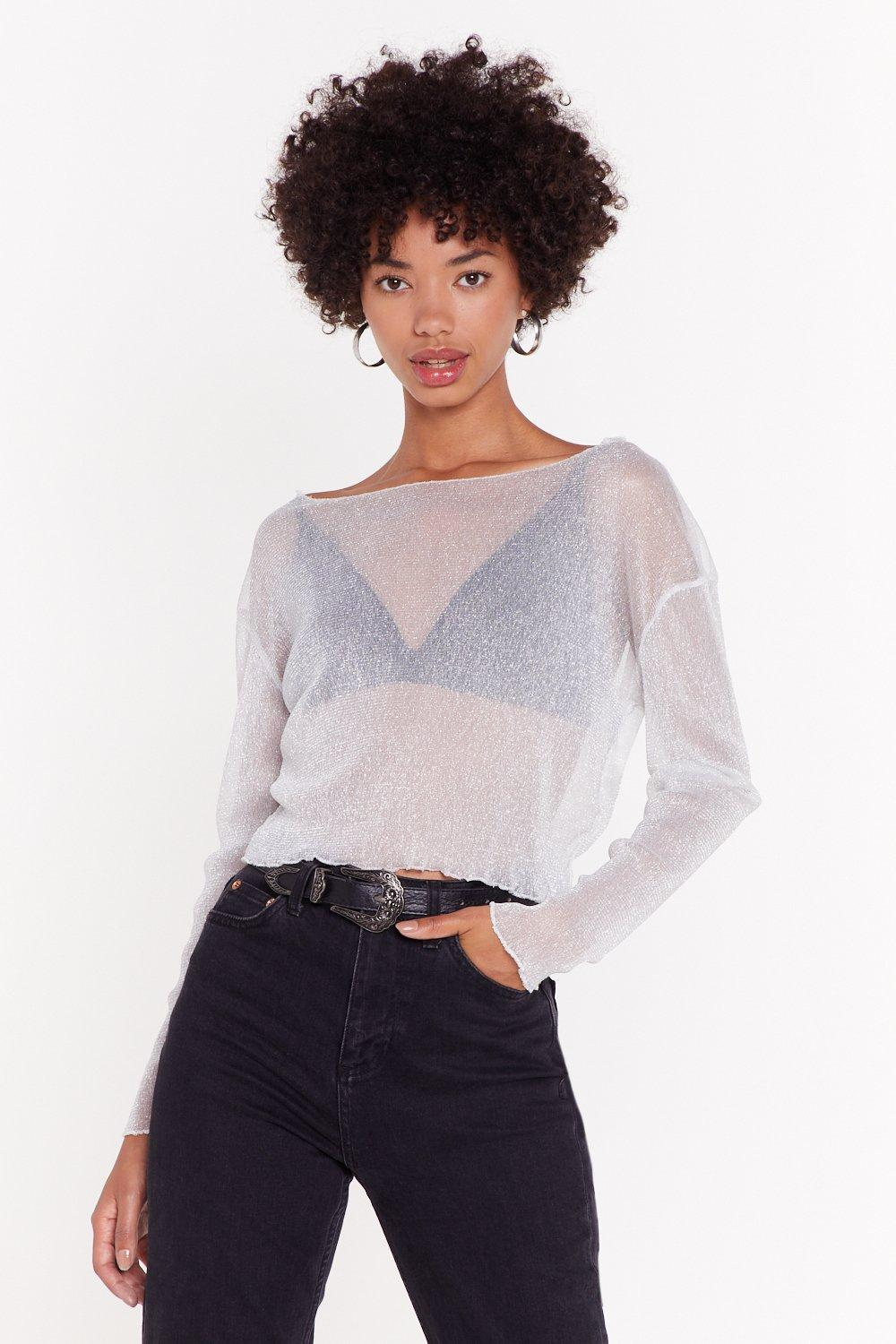 8300f5c3e8 Sleeve It All Behind Mesh Glitter Top | Shop Clothes at Nasty Gal!