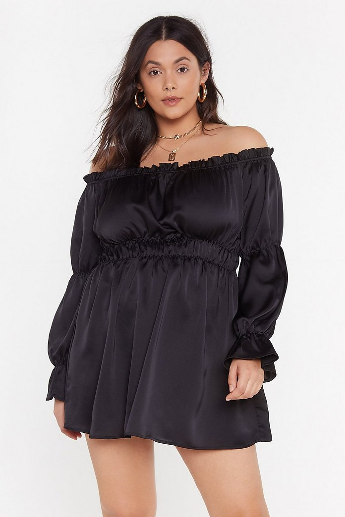 Take It Off The Shoulder Ruffle Plus Dress by Nasty Gal
