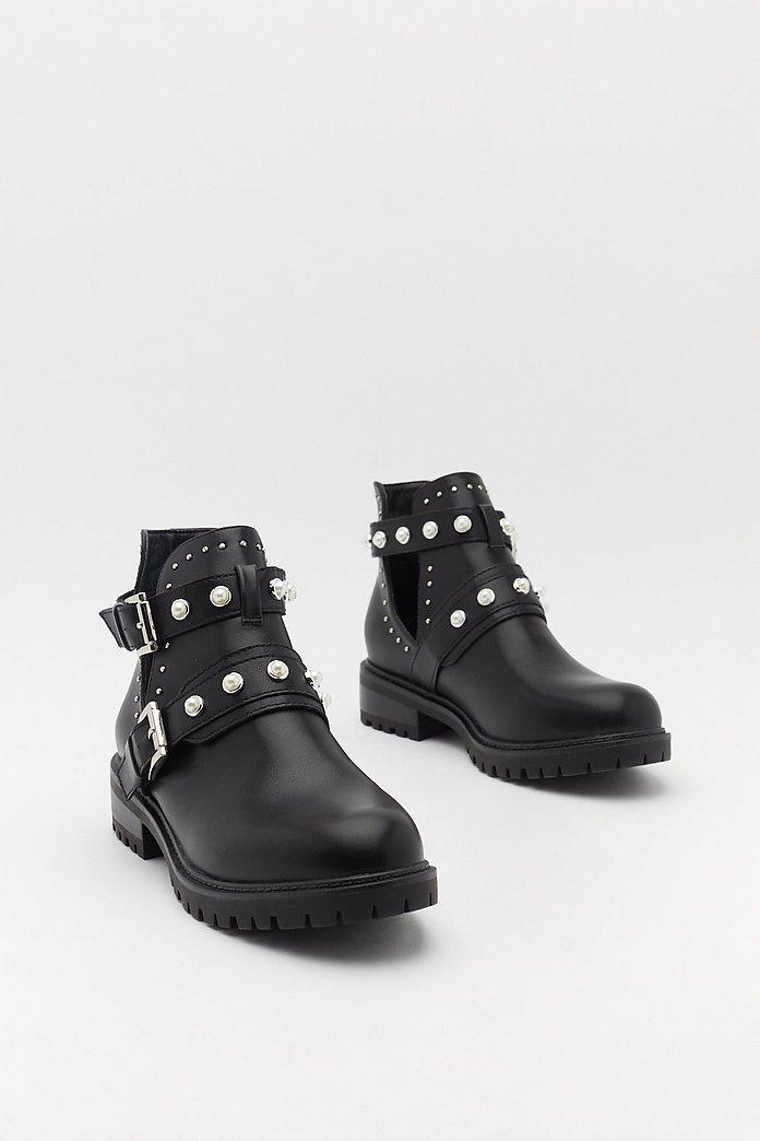 Black Pearl Detail Triple Strap Biker Boot