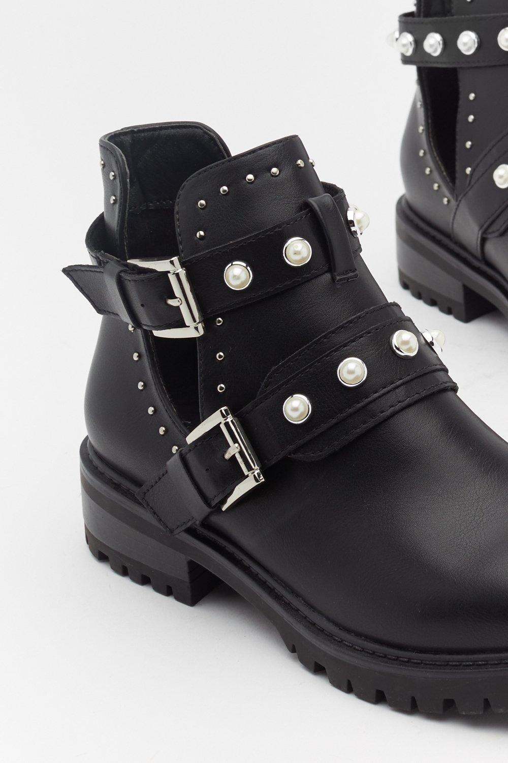 e6615110fe0 Pearl Embellished Biker Boots | Shop Clothes at Nasty Gal!