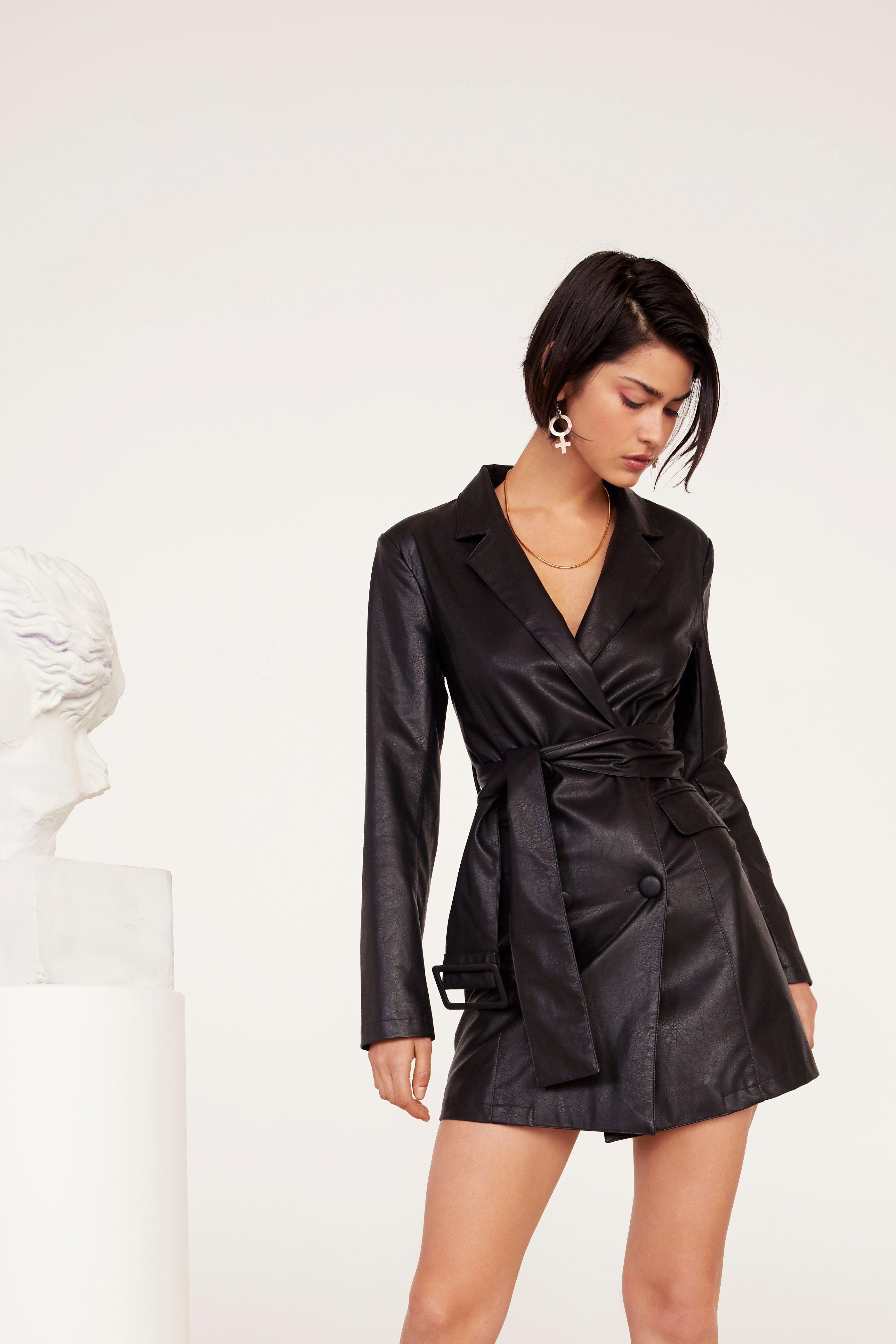Bar Business Faux Leather Blazer Dress