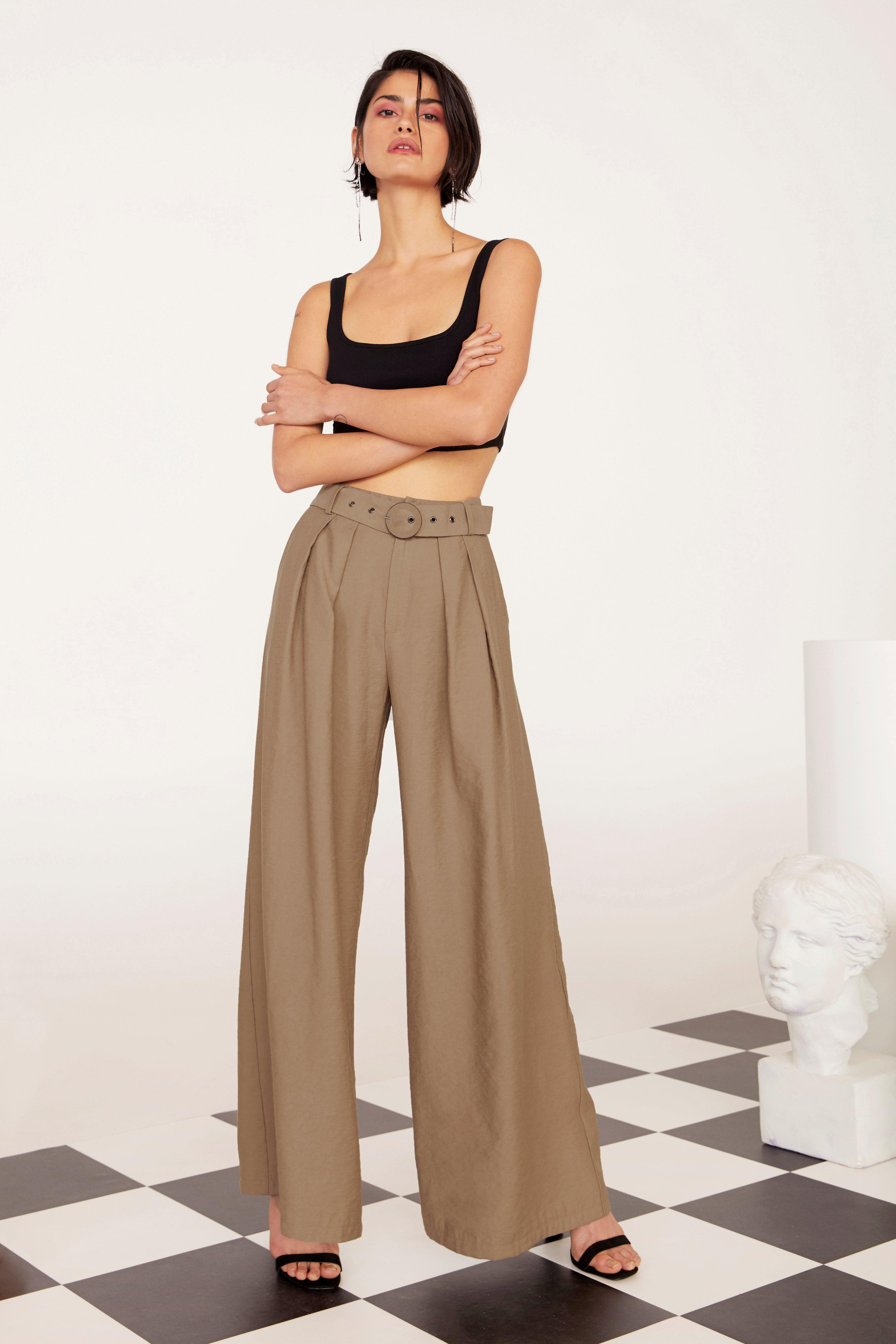 Business As Usual Wide-Leg Belted Pants