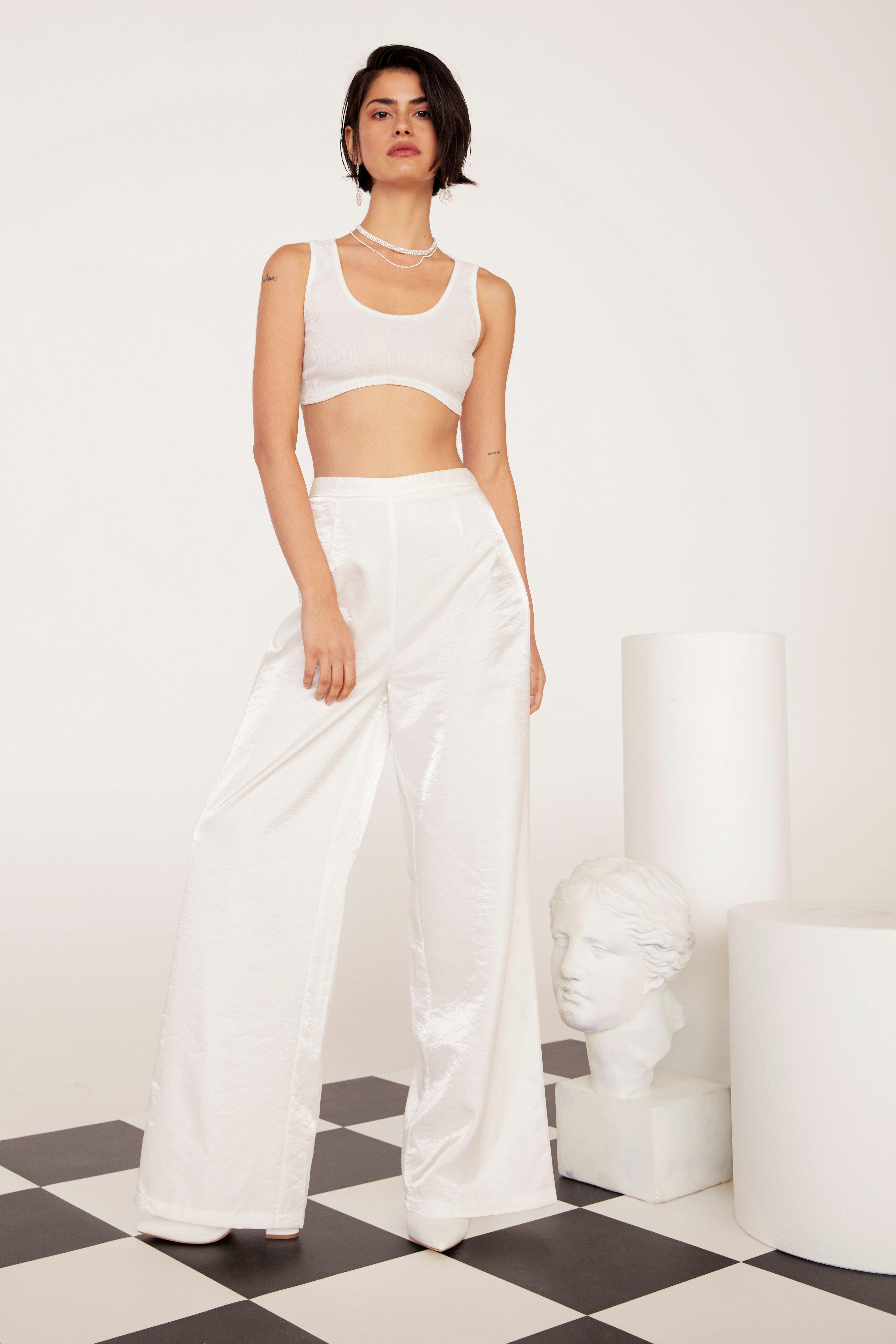 We're Finished Satin Wide-Leg Pants