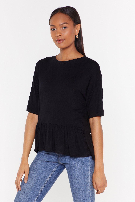 71e2d1a43a32 Womens Black MS Ruffle Hem Boxy T Shirt. Click to expand