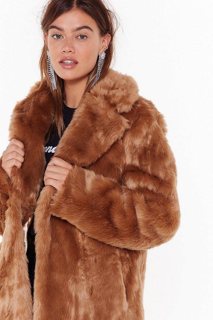 Manteau fausse fourrure femme poil long