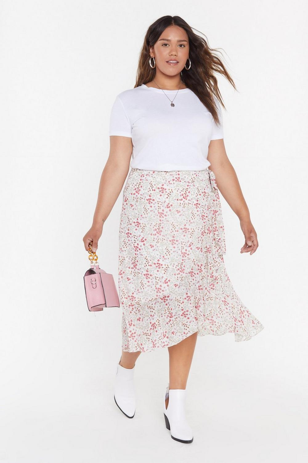 Summer Floral Wrap Midi Skirt