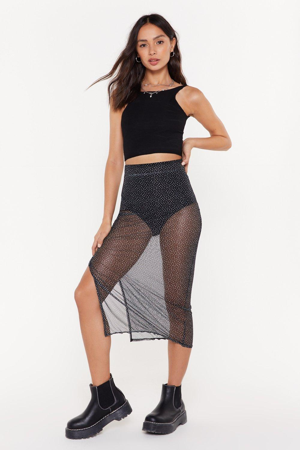clearance sale save off pretty cool Polka Dot Mesh Midi Skirt | Shop Clothes at Nasty Gal!