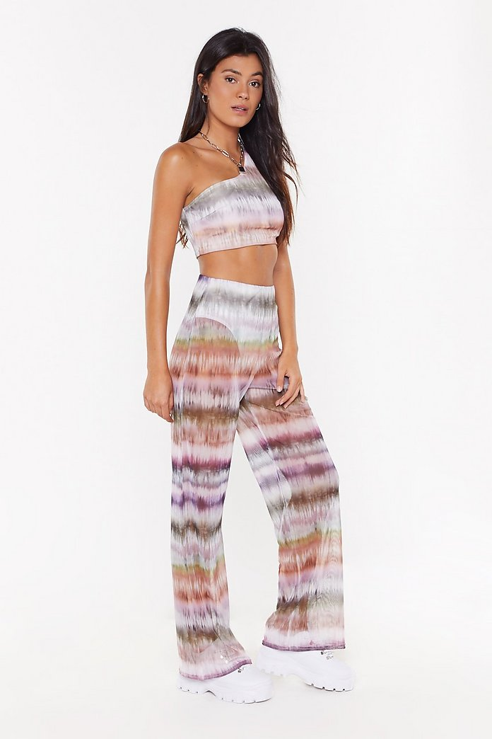 Womens Casual Tie Dye Short Sleeve Crop Top High Waist Flare Trousers Co-ord Set