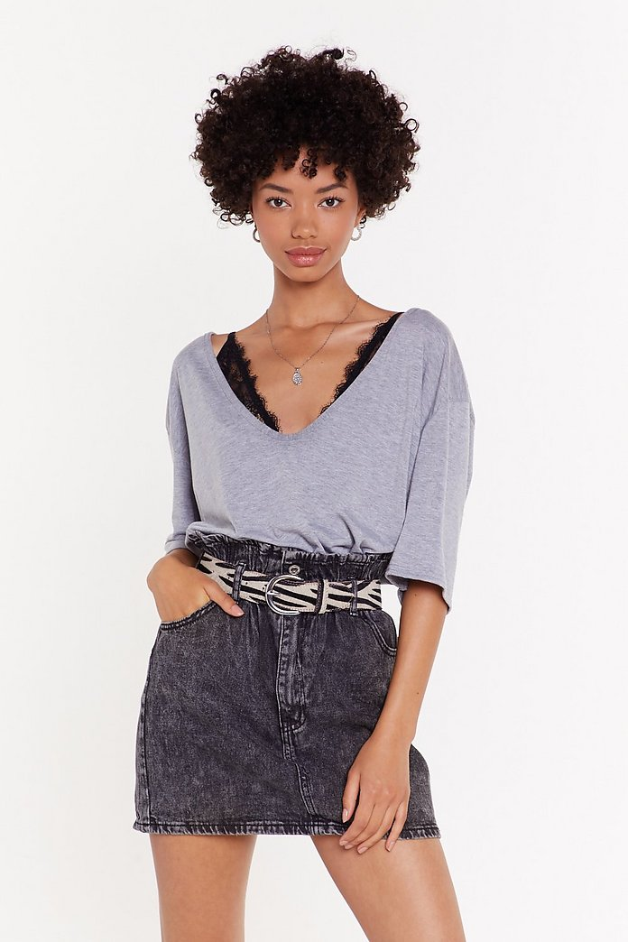NASTYGAL – JUPE JEAN TAILLE HAUTE FRONCE