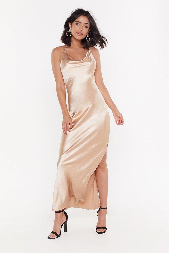 Cowl Me Back Babe Satin Maxi Dress | Nasty Gal