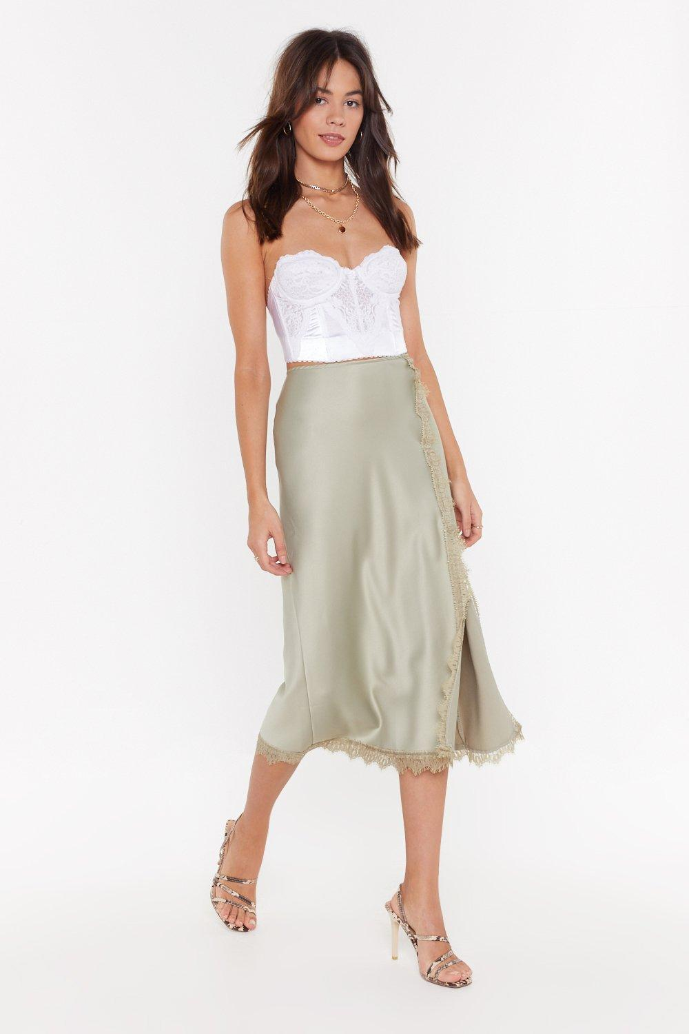 b2e8642c79 At Long Lace Satin Midi Skirt | Shop Clothes at Nasty Gal!