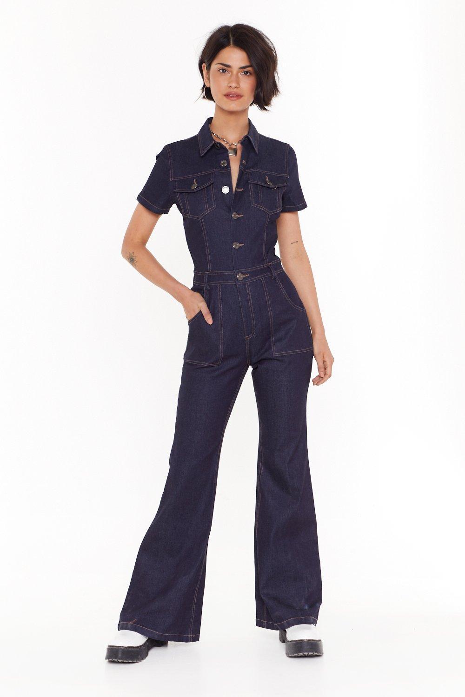 c6491df62 Combinaison en jean à coutures contrastantes Un coup de jeanie | Shop  Clothes at Nasty Gal!