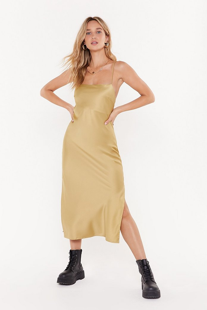 Square Neck Midi Slip Dress | Nasty Gal