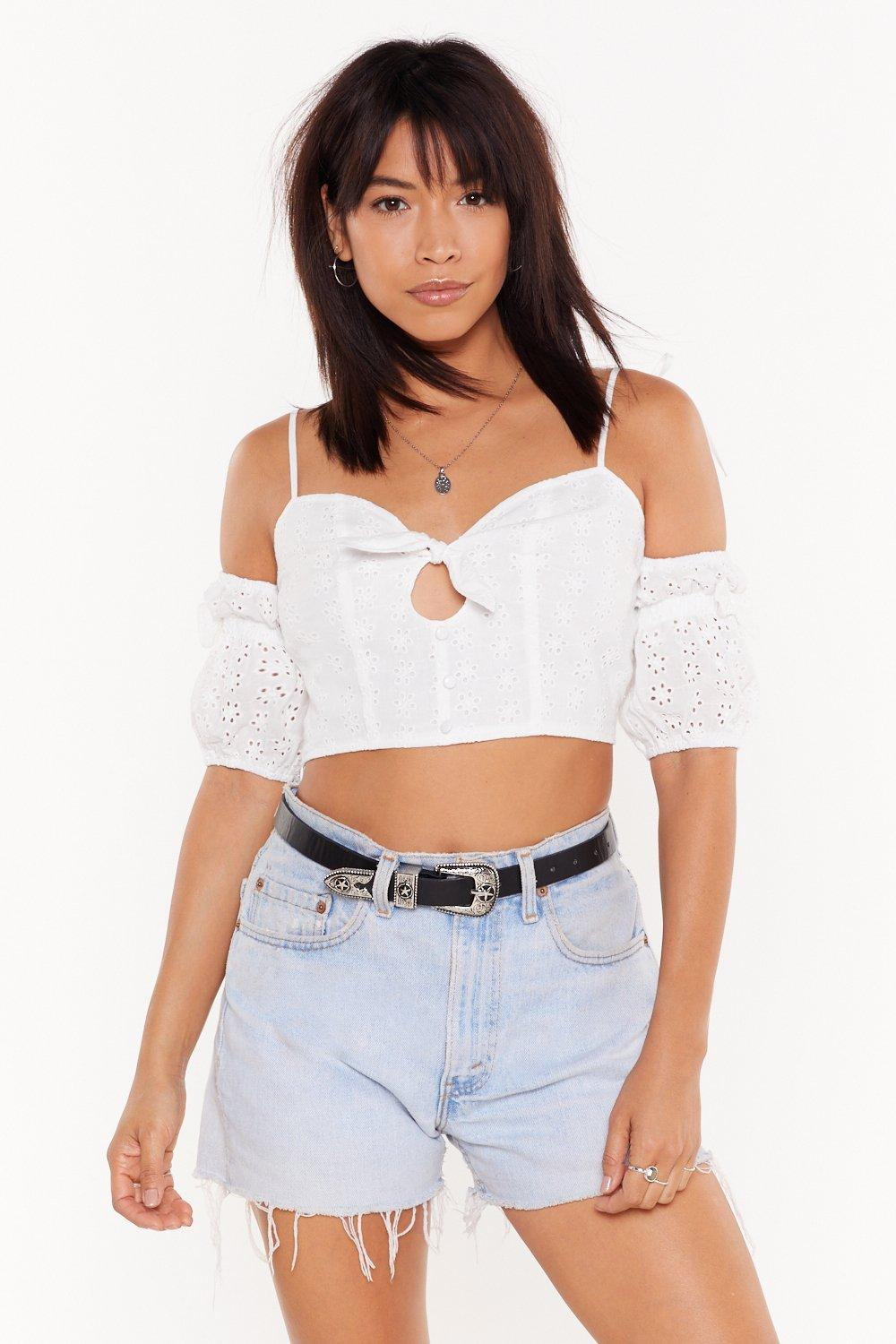 51ab09f750e7a5 Go Thread to Thread Broderie Anglaise Crop Top | Shop Clothes at ...
