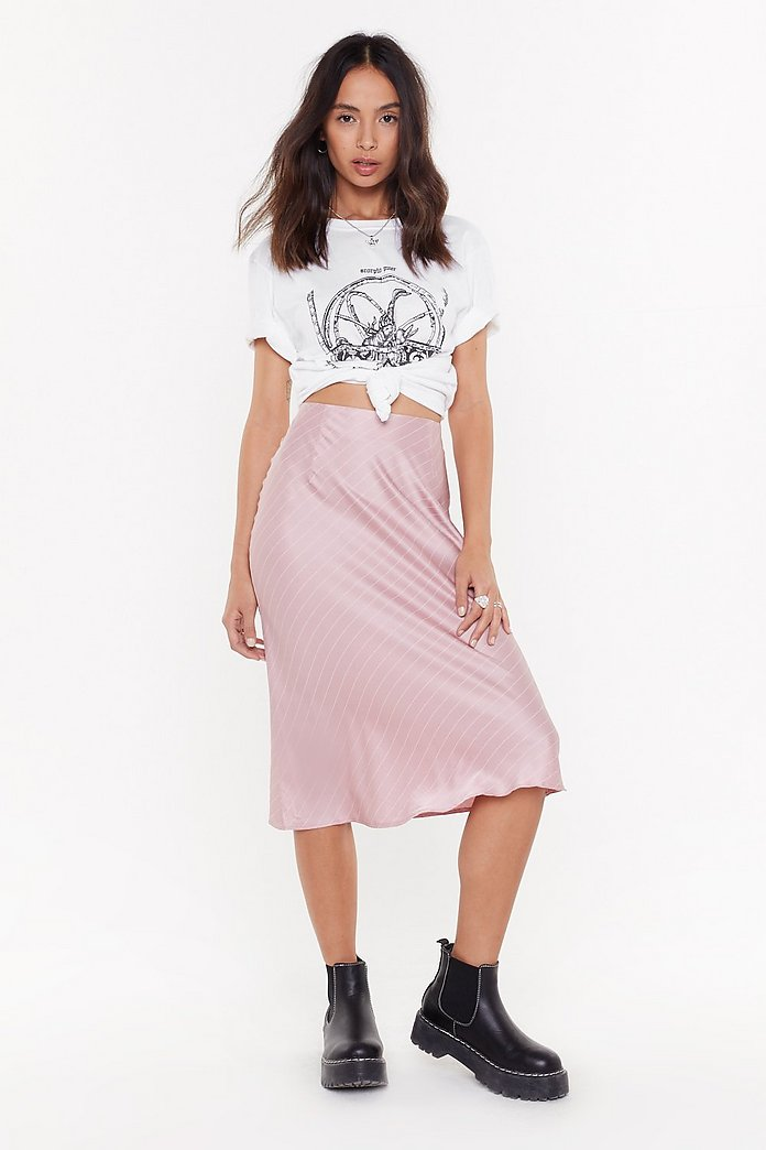 It's Going To Satin Bias Cut Midi Skirt by Nasty Gal