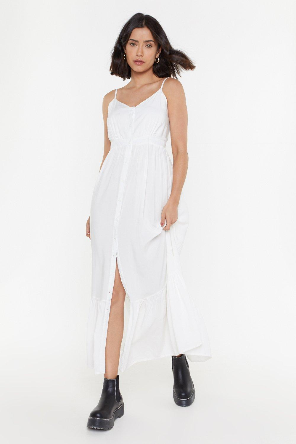 cfe7028a71fc1 Button Down Strappy Maxi Dress   Shop Clothes at Nasty Gal!
