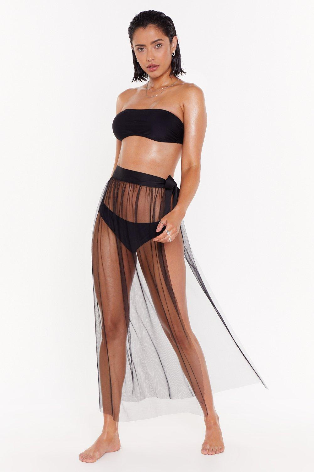 8cbde6017ffc0 Womens Black Ballerina Hits the Beach Mesh Cover-Up Skirt. Hover to zoom