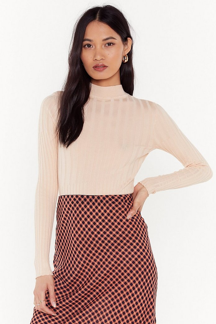 Knitting On You High Neck Ribbed Top by Nasty Gal