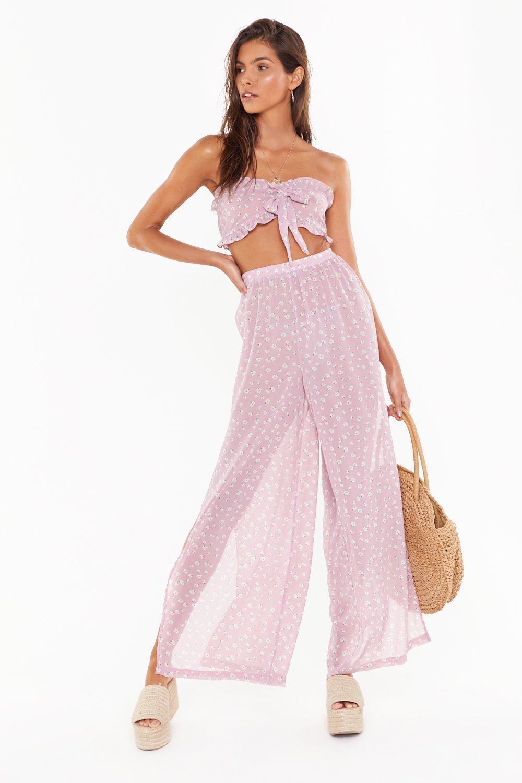 ba591432c2db Floral Tie Bandeau & Split Trouser Beach Co-Ord | Shop Clothes at ...
