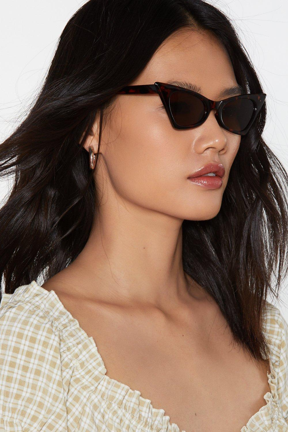 7ce11f657ecaf Womens Brown Can You Angle It Tortoiseshell Cat-Eye Sunglasses. Hover to  zoom