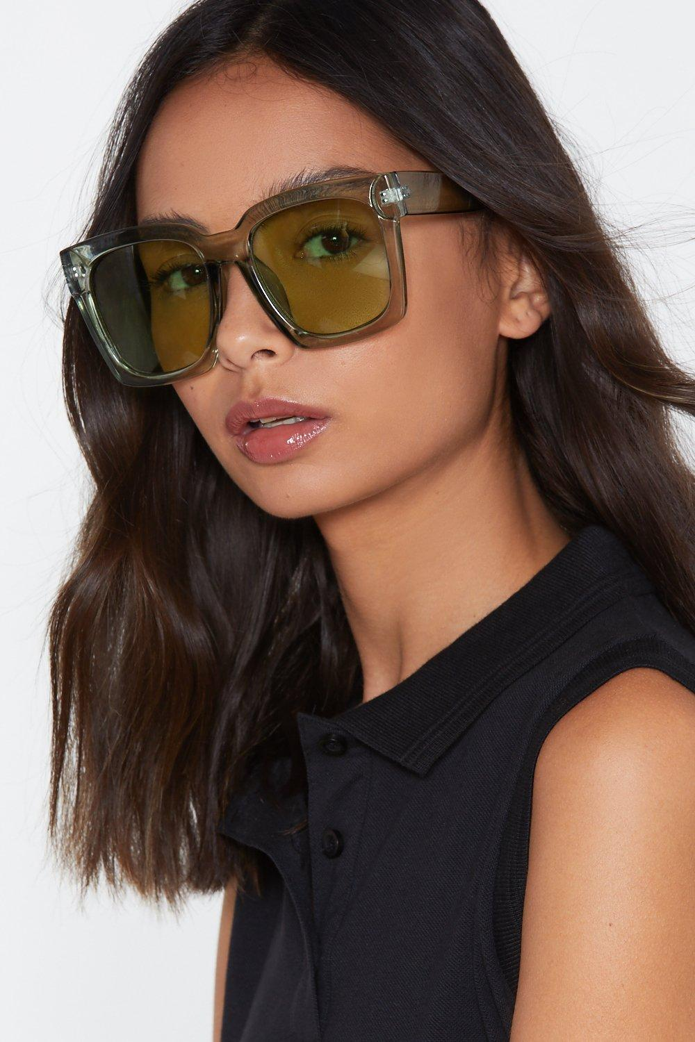 008699516221c Womens Green Envious Oversized Square Sunglasses