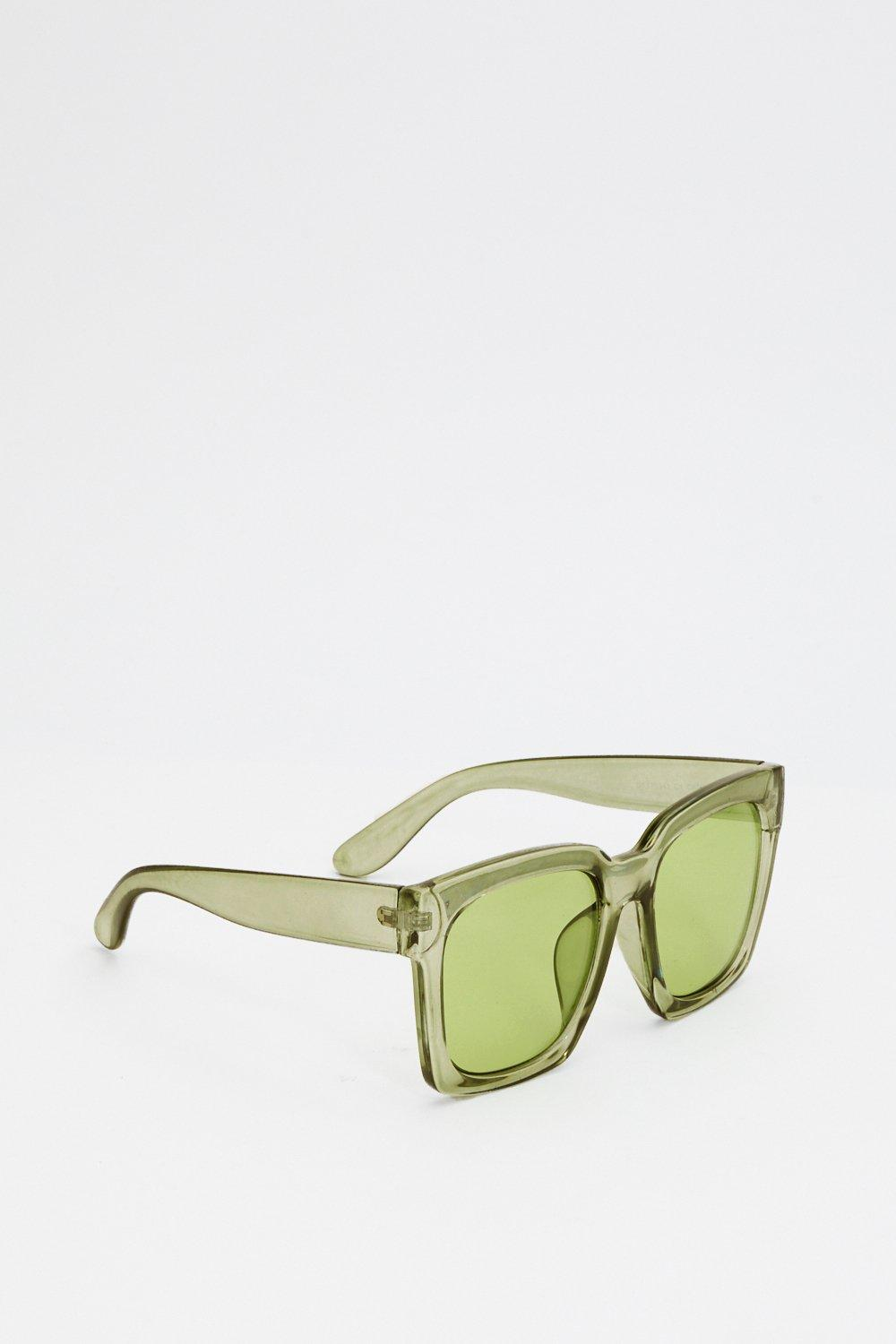 cc4882403f19f Womens Green Envious Oversized Square Sunglasses.