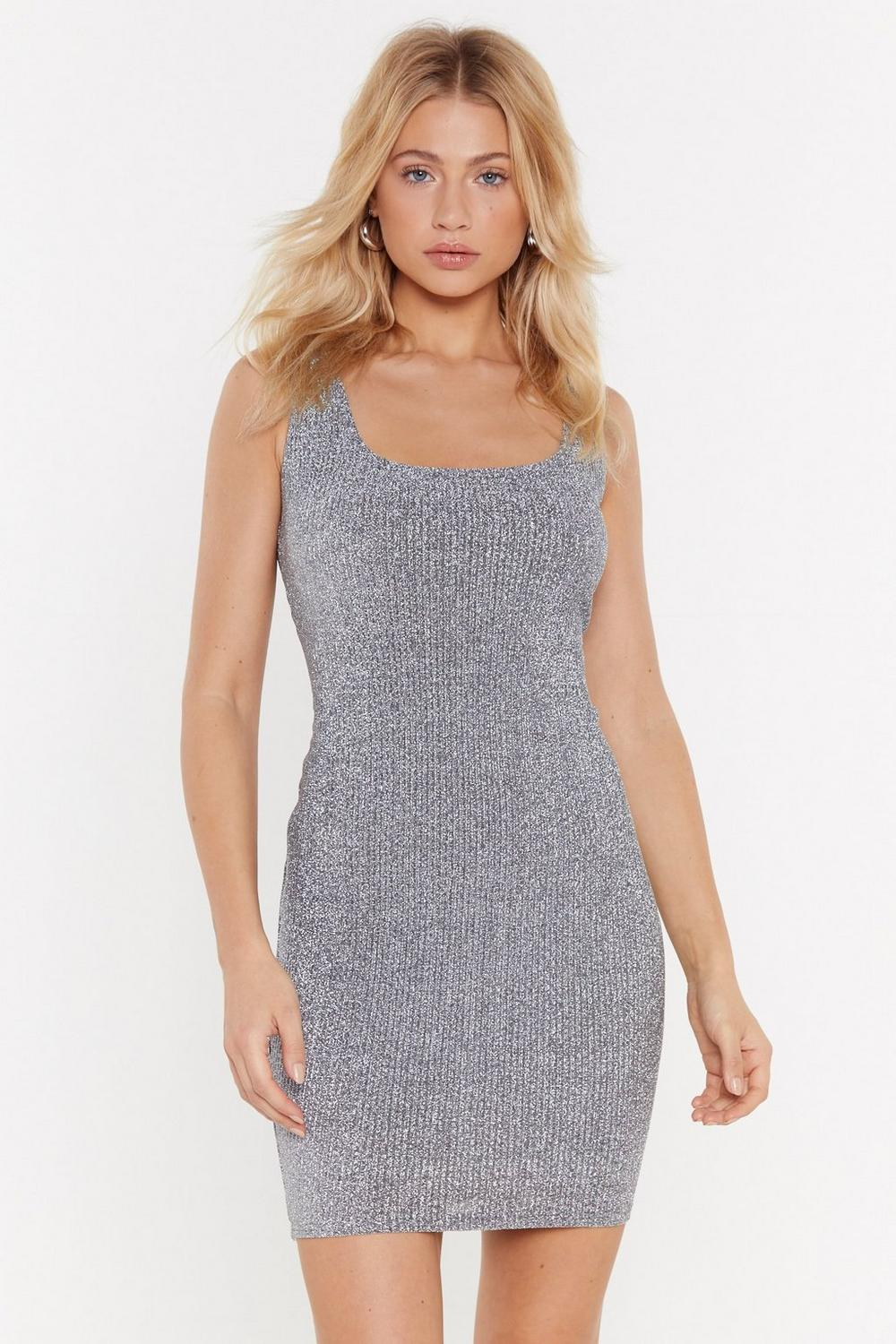 ae6a82fb5b242 Broderie Metallic Ribbed Square Neck Mini Dress | Shop Clothes at ...