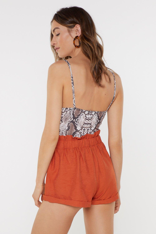 5d1e6b83f9c Womens Orange Elastic Waist Linen Shorts. Hover to zoom