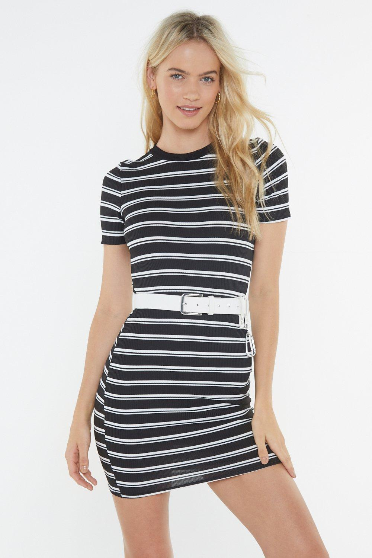 34b3f56b7ef Womens Black Black Ribbed Striped Short Sleeve Mini Dress