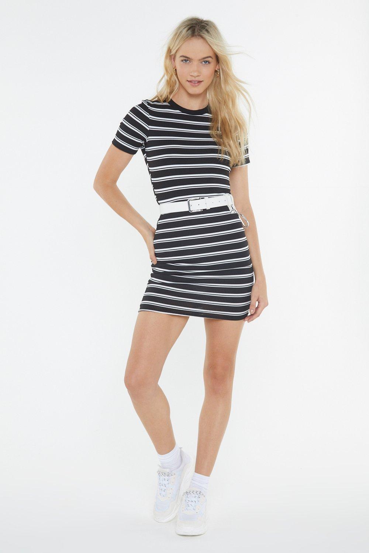8713765687c Womens Black Black Ribbed Striped Short Sleeve Mini Dress.
