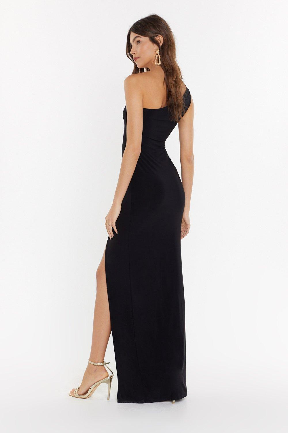 35a0b37704c Womens Black Rise to the Occasion One Shoulder Maxi Dress. Hover to zoom