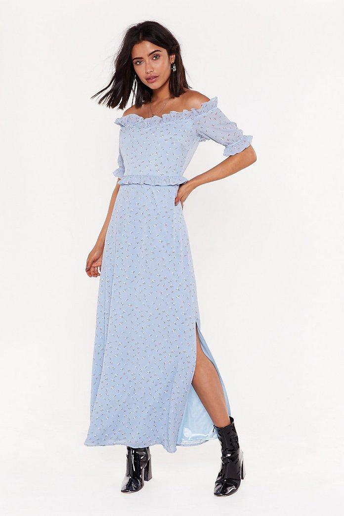 sortie en vente procédés de teinture minutieux dernière remise Robe longue à col bardot et imprimé fleuri Calme toi mesh | Shop Clothes at  Nasty Gal!