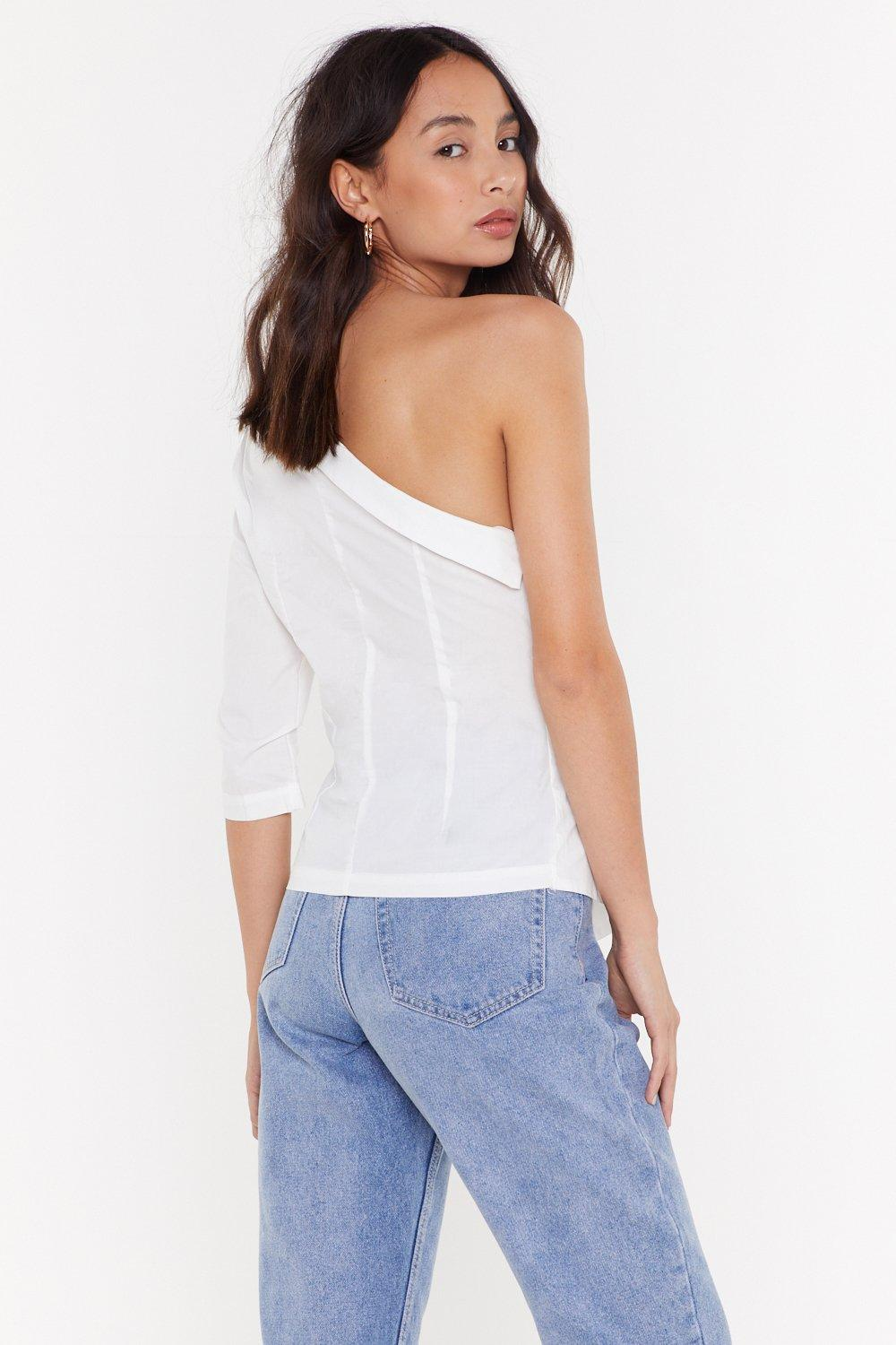 7d57725a1afd3c Solo Career One Shoulder Button Blouse | Shop Clothes at Nasty Gal!