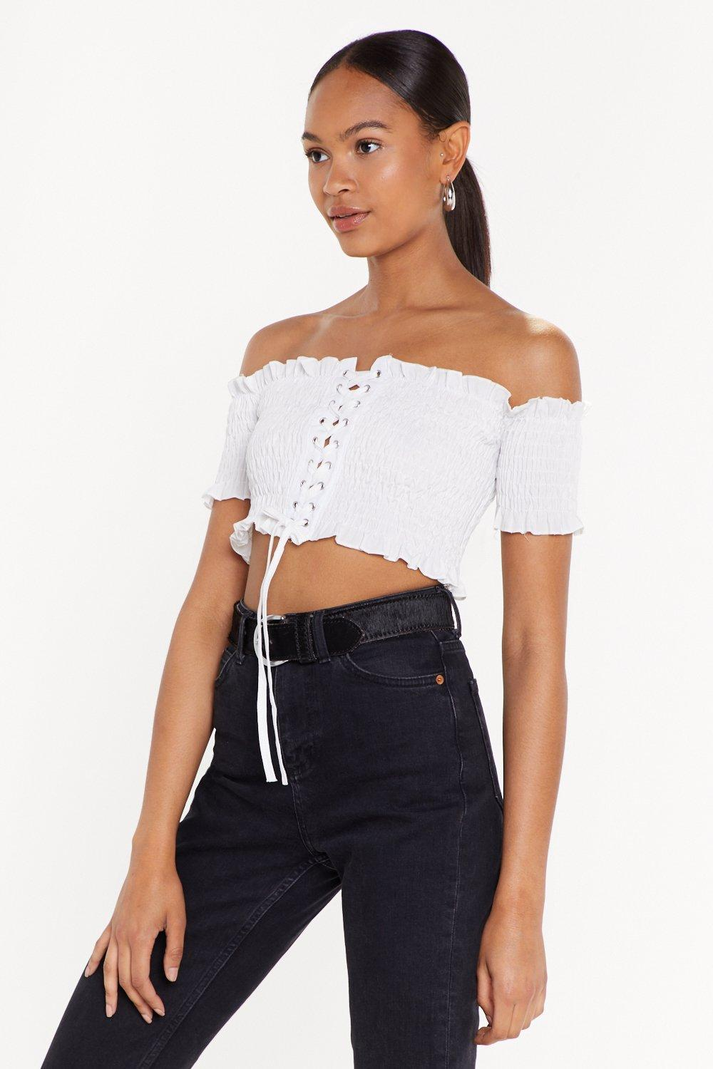 5dc8f701e3f Lace-Up to You Shirred Off-the-Shoulder Top | Shop Clothes at Nasty Gal!