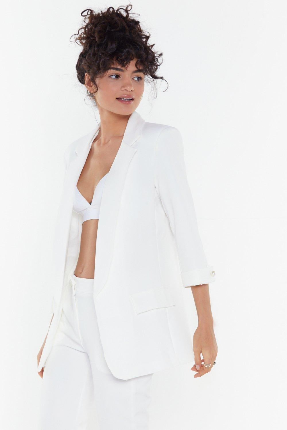 12894191afa Womens White Just Add Pearls Blazer. Hover to zoom