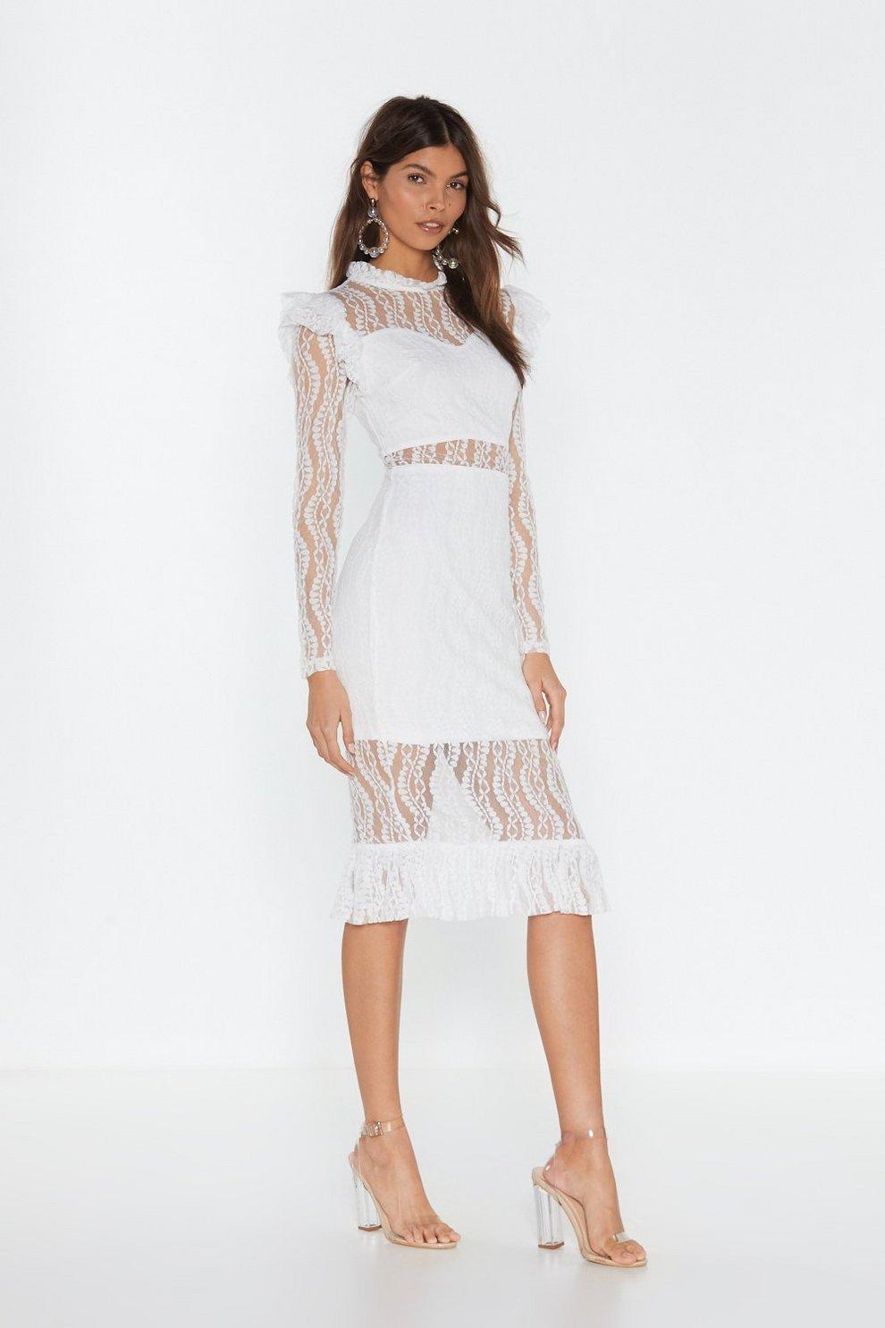 ee55250b3534 Heartache Tonight Lace Midi Dress
