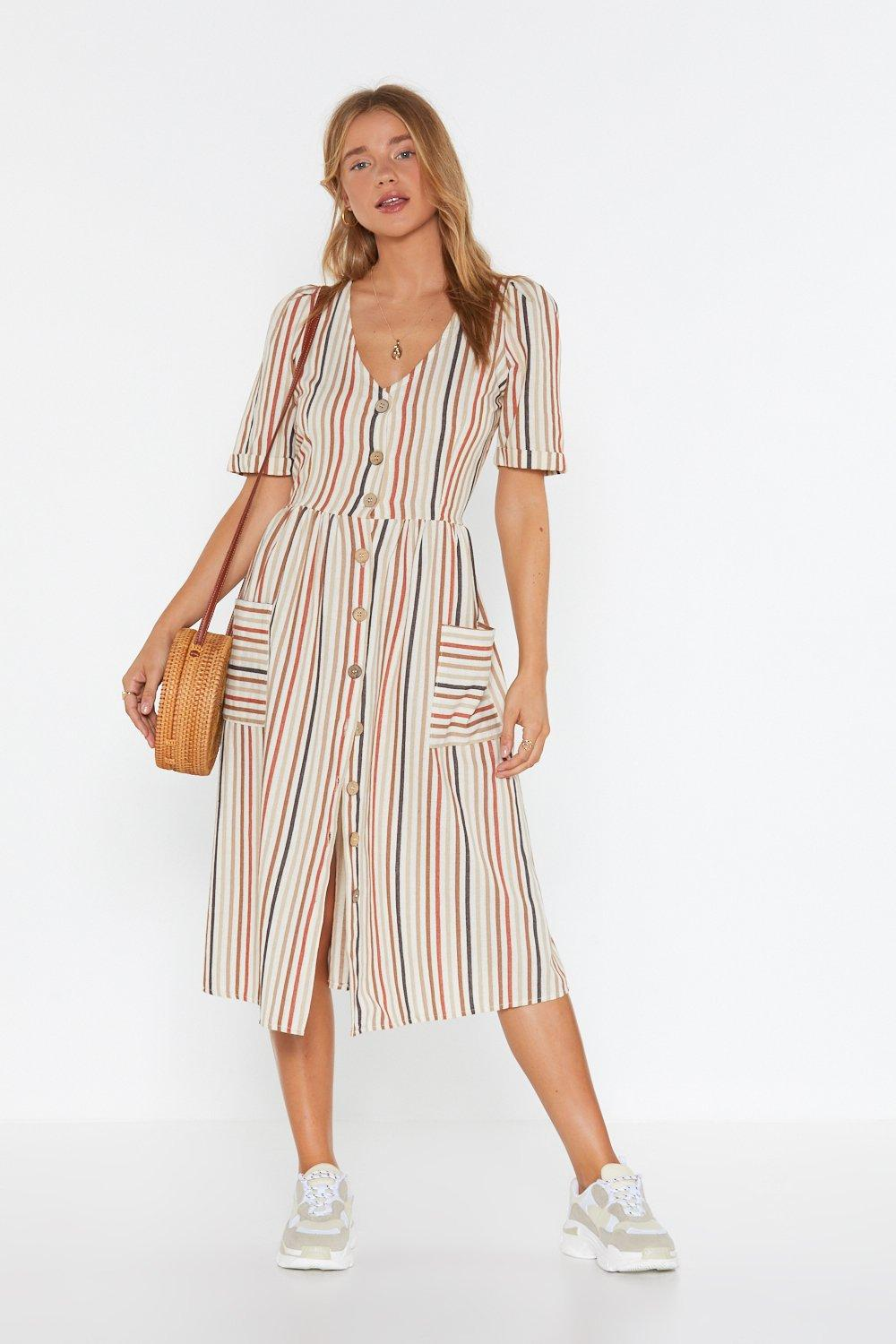 1244ad5f16f Womens Rust Stay in Line Striped Midi Dress