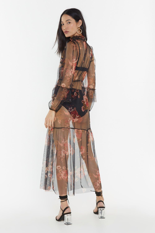 a458aedd29 Womens Black Sheer Talent Floral Maxi Dress
